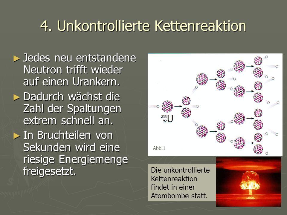 4. Unkontrollierte Kettenreaktion ► Jedes neu entstandene Neutron trifft wieder auf einen Urankern. ► Dadurch wächst die Zahl der Spaltungen extrem sc