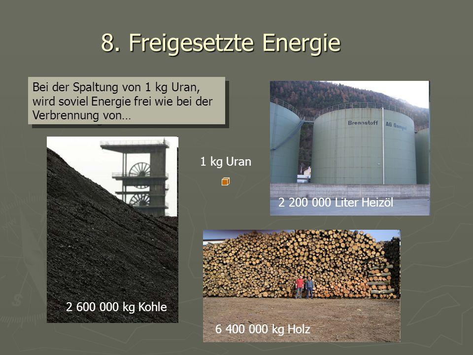 8. Freigesetzte Energie Bei der Spaltung von 1 kg Uran, wird soviel Energie frei wie bei der Verbrennung von… 2 600 000 kg Kohle 6 400 000 kg Holz 2 2