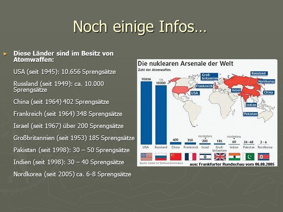 Noch einige Infos… ► Diese Länder sind im Besitz von Atomwaffen: USA (seit 1945): 10.656 Sprengsätze Russland (seit 1949): ca. 10.000 Sprengsätze Chin