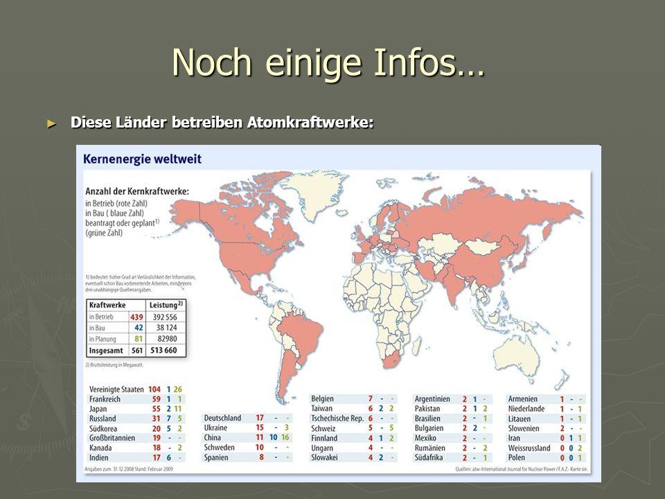 ► Diese Länder betreiben Atomkraftwerke: Noch einige Infos…