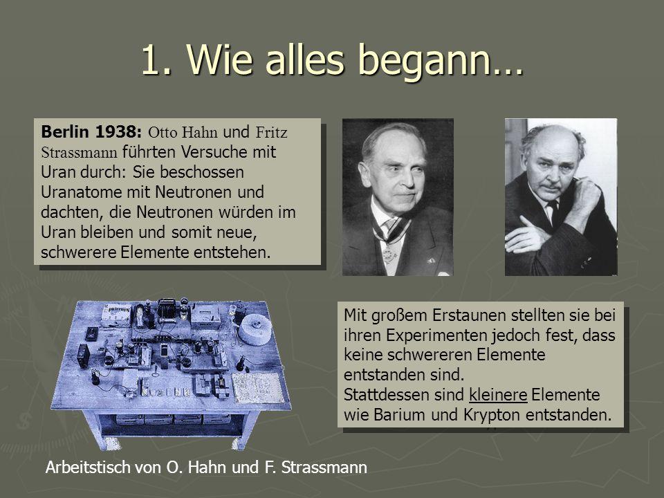 1. Wie alles begann… Berlin 1938: Otto Hahn und Fritz Strassmann führten Versuche mit Uran durch: Sie beschossen Uranatome mit Neutronen und dachten,
