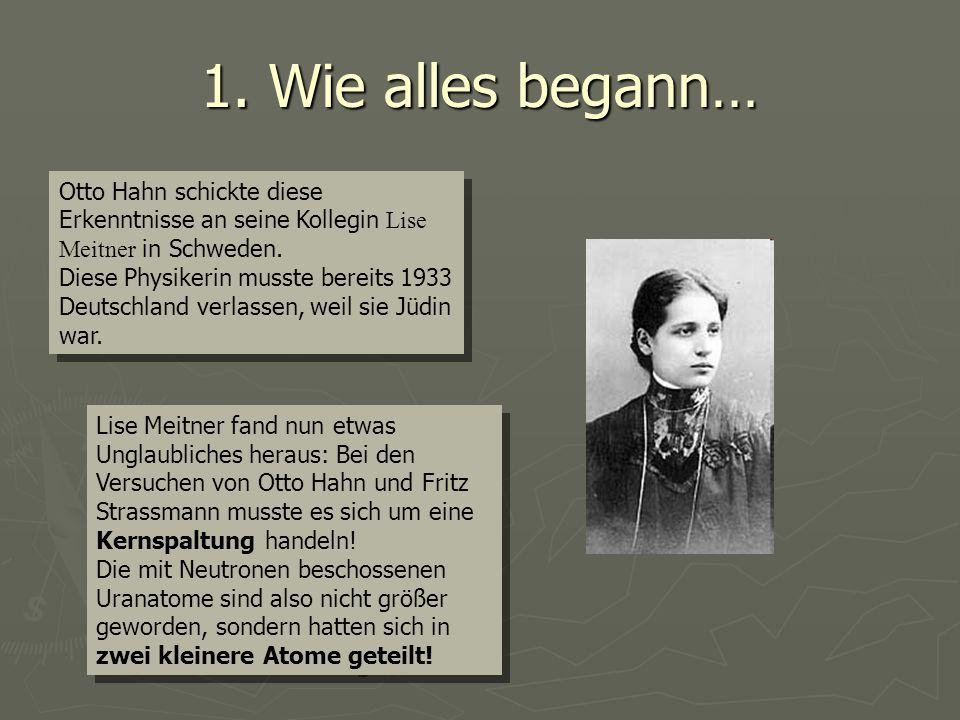 1. Wie alles begann… Otto Hahn schickte diese Erkenntnisse an seine Kollegin Lise Meitner in Schweden. Diese Physikerin musste bereits 1933 Deutschlan