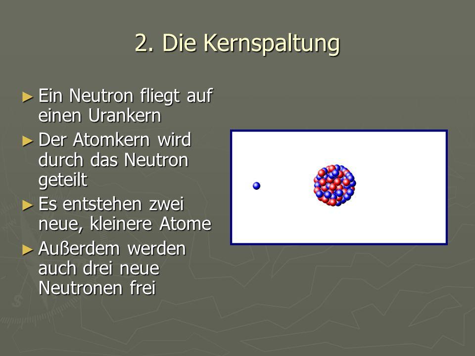 2. Die Kernspaltung ► Ein Neutron fliegt auf einen Urankern ► Der Atomkern wird durch das Neutron geteilt ► Es entstehen zwei neue, kleinere Atome ► A