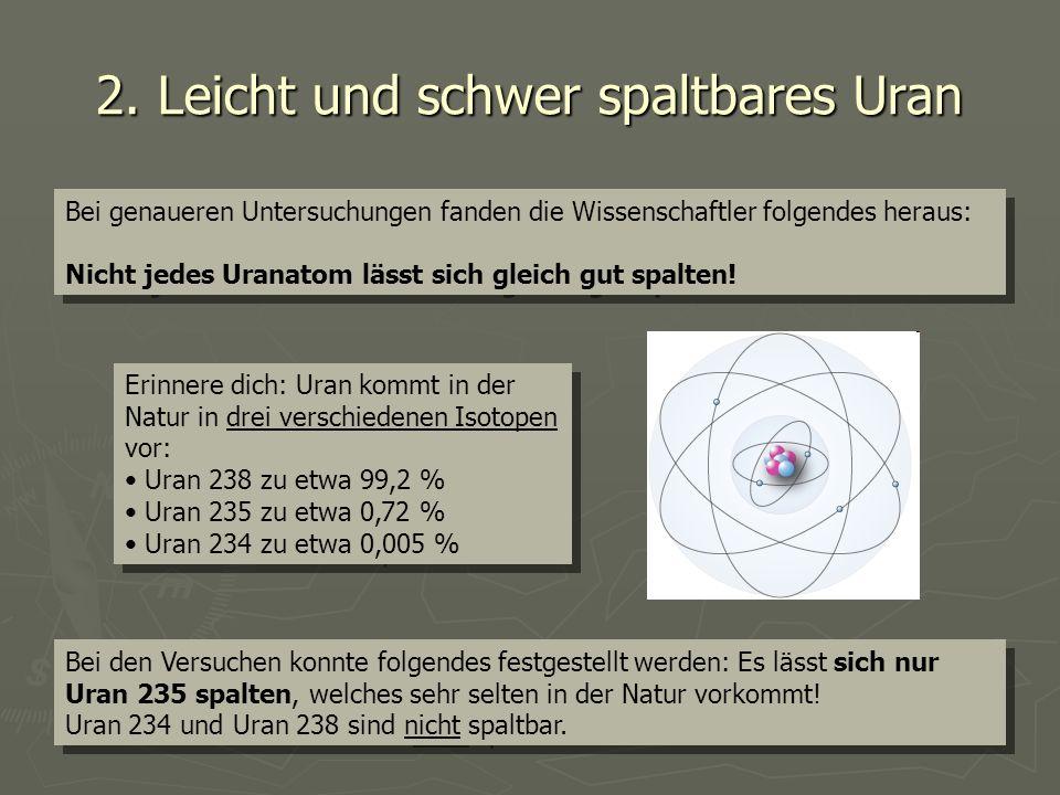 2. Leicht und schwer spaltbares Uran Bei genaueren Untersuchungen fanden die Wissenschaftler folgendes heraus: Nicht jedes Uranatom lässt sich gleich