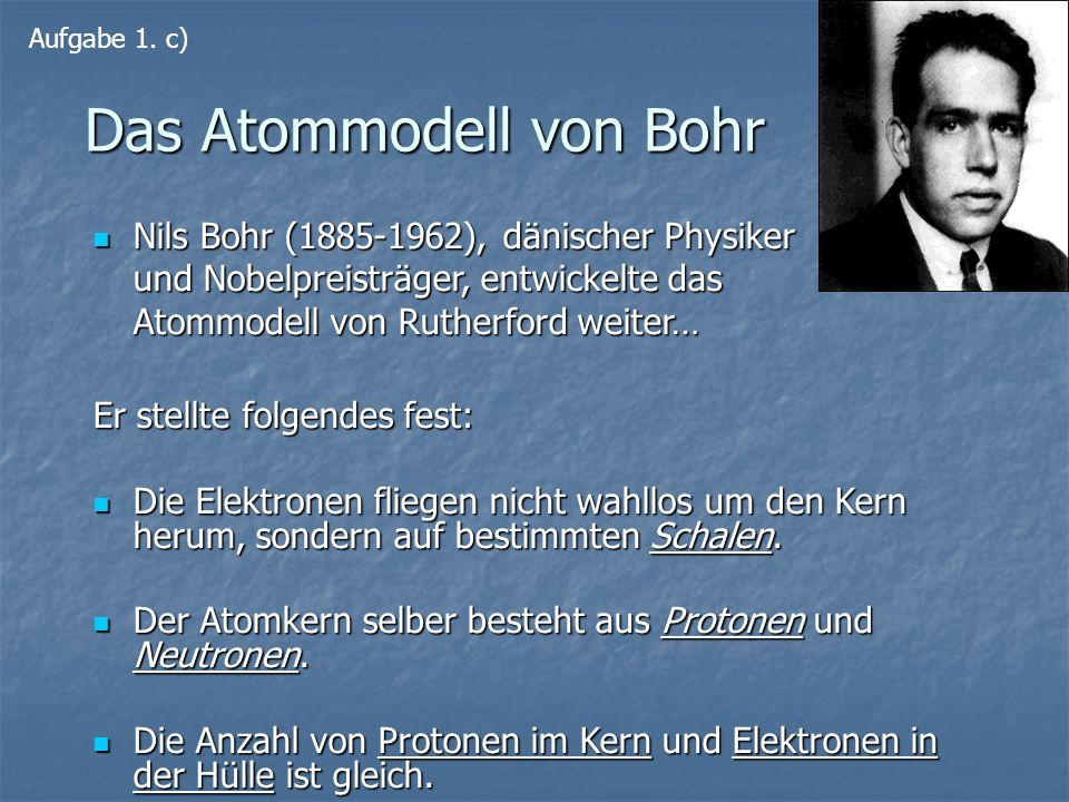 Das Atommodell von Bohr Nils Bohr (1885-1962), dänischer Physiker und Nobelpreisträger, entwickelte das Atommodell von Rutherford weiter… Nils Bohr (1