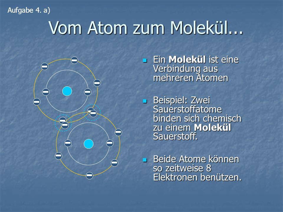 Vom Atom zum Molekül... Ein Molekül ist eine Verbindung aus mehreren Atomen Ein Molekül ist eine Verbindung aus mehreren Atomen Beispiel: Zwei Sauerst