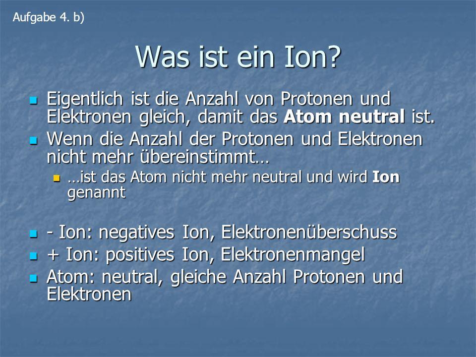 Was ist ein Ion? Eigentlich ist die Anzahl von Protonen und Elektronen gleich, damit das Atom neutral ist. Eigentlich ist die Anzahl von Protonen und