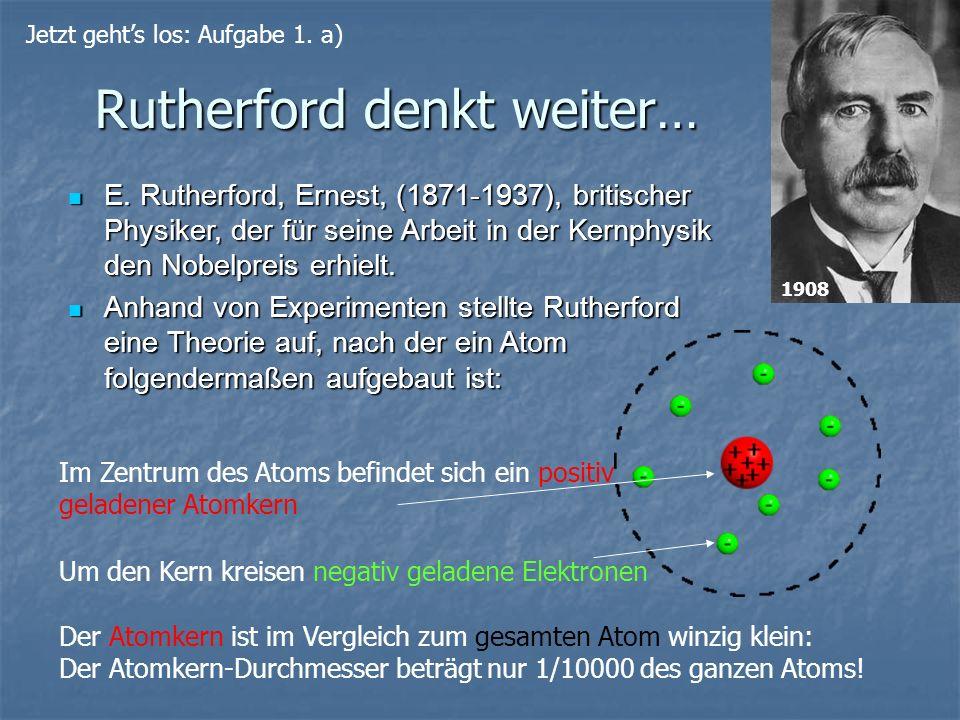 Rutherford denkt weiter… Der Atomkern ist im Vergleich zum gesamten Atom winzig klein: Der Atomkern-Durchmesser beträgt nur 1/10000 des ganzen Atoms!