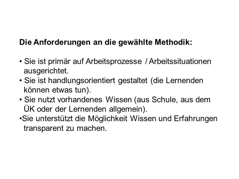 Die Anforderungen an die gewählte Methodik: Sie ist primär auf Arbeitsprozesse / Arbeitssituationen ausgerichtet.