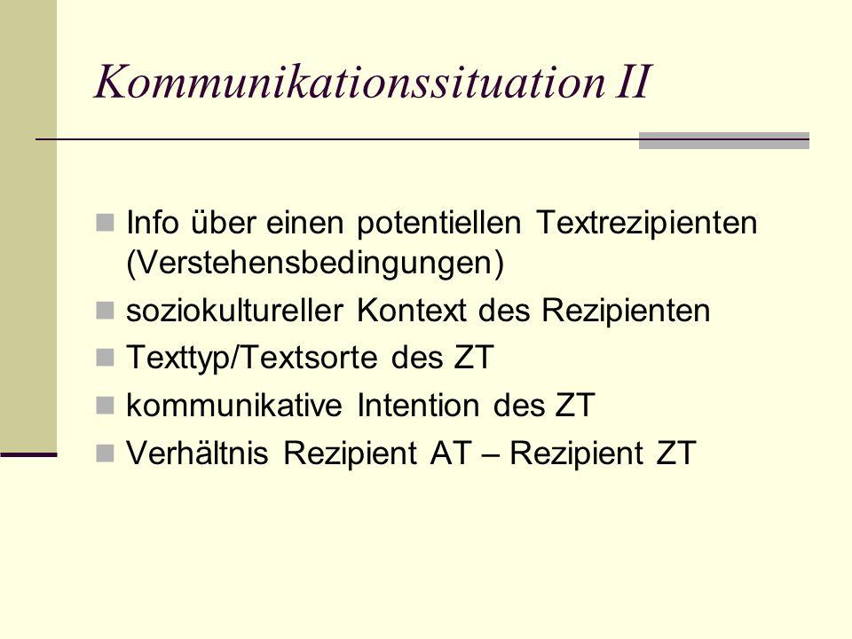 Kommunikationssituation II Info über einen potentiellen Textrezipienten (Verstehensbedingungen) soziokultureller Kontext des Rezipienten Texttyp/Textsorte des ZT kommunikative Intention des ZT Verhältnis Rezipient AT – Rezipient ZT