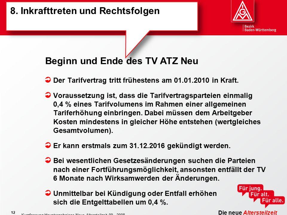 Die neue Altersteilzeit Kurzfassung Hauptergebnisse Neue Altersteilzeit 09 - 2008 12 8.