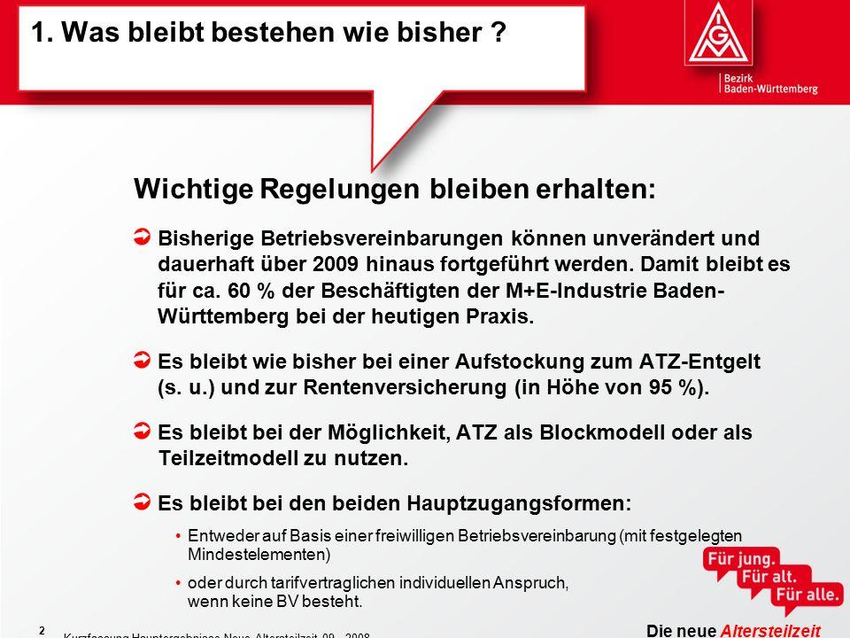 Die neue Altersteilzeit Kurzfassung Hauptergebnisse Neue Altersteilzeit 09 - 2008 2 1. Was bleibt bestehen wie bisher ? Bisherige Betriebsvereinbarung