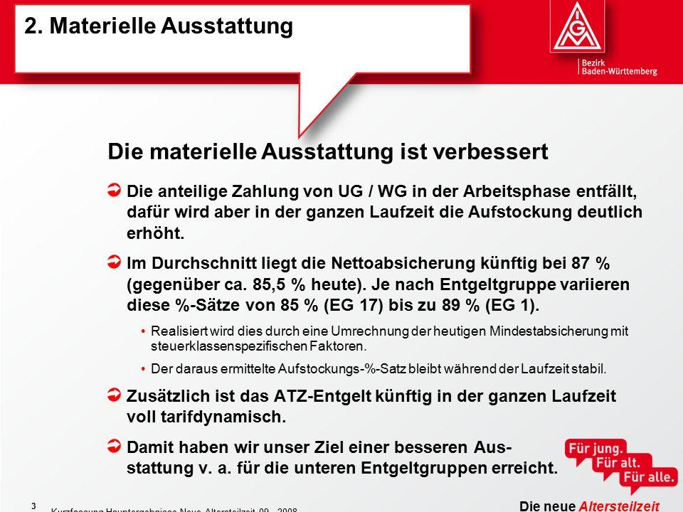 Die neue Altersteilzeit Kurzfassung Hauptergebnisse Neue Altersteilzeit 09 - 2008 3 2.