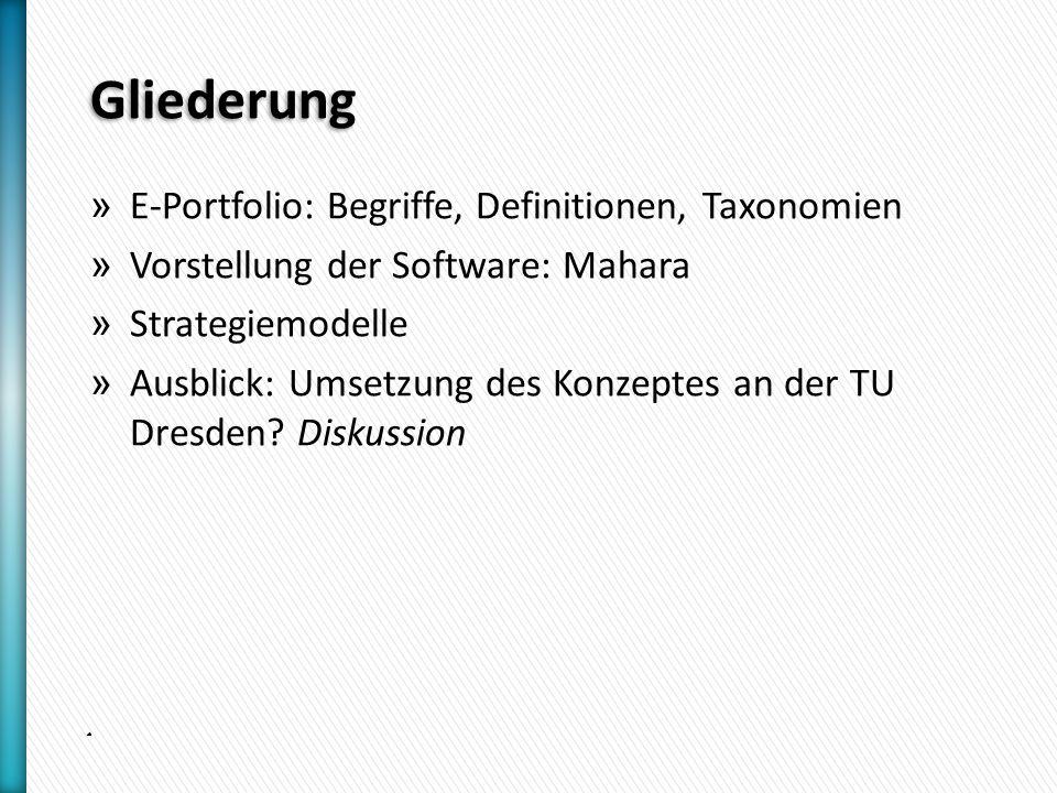 Gliederung » E-Portfolio: Begriffe, Definitionen, Taxonomien » Vorstellung der Software: Mahara » Strategiemodelle » Ausblick: Umsetzung des Konzeptes an der TU Dresden.