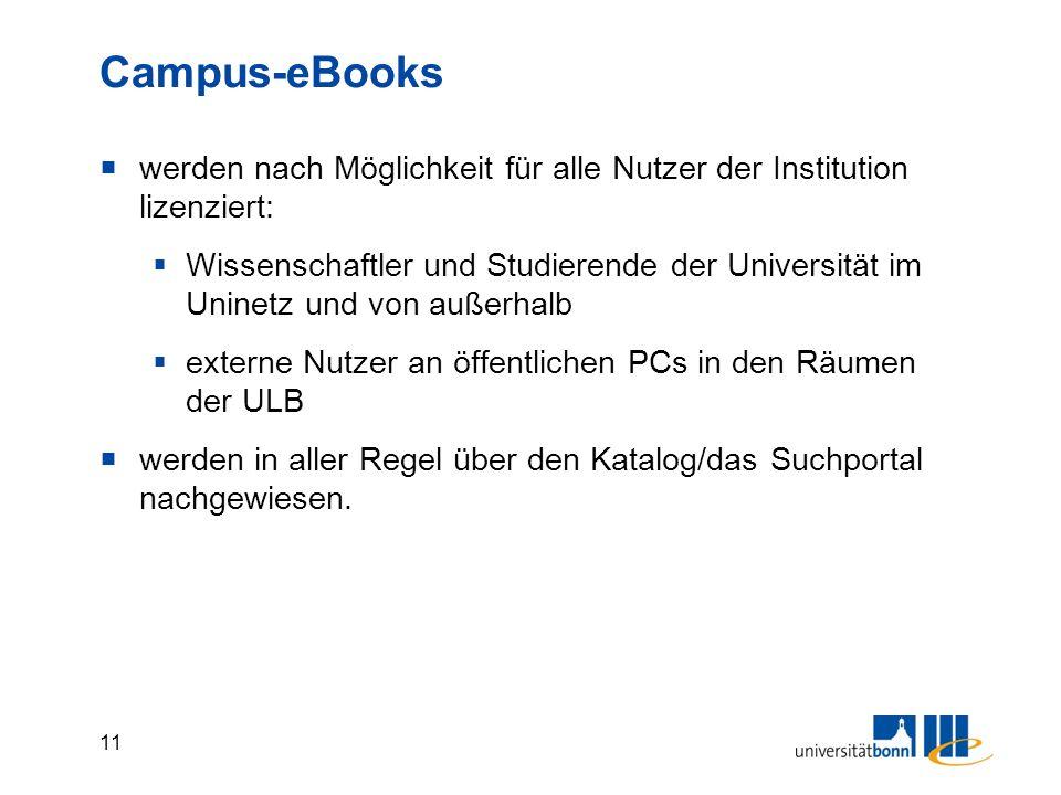 11 Campus-eBooks  werden nach Möglichkeit für alle Nutzer der Institution lizenziert:  Wissenschaftler und Studierende der Universität im Uninetz und von außerhalb  externe Nutzer an öffentlichen PCs in den Räumen der ULB  werden in aller Regel über den Katalog/das Suchportal nachgewiesen.