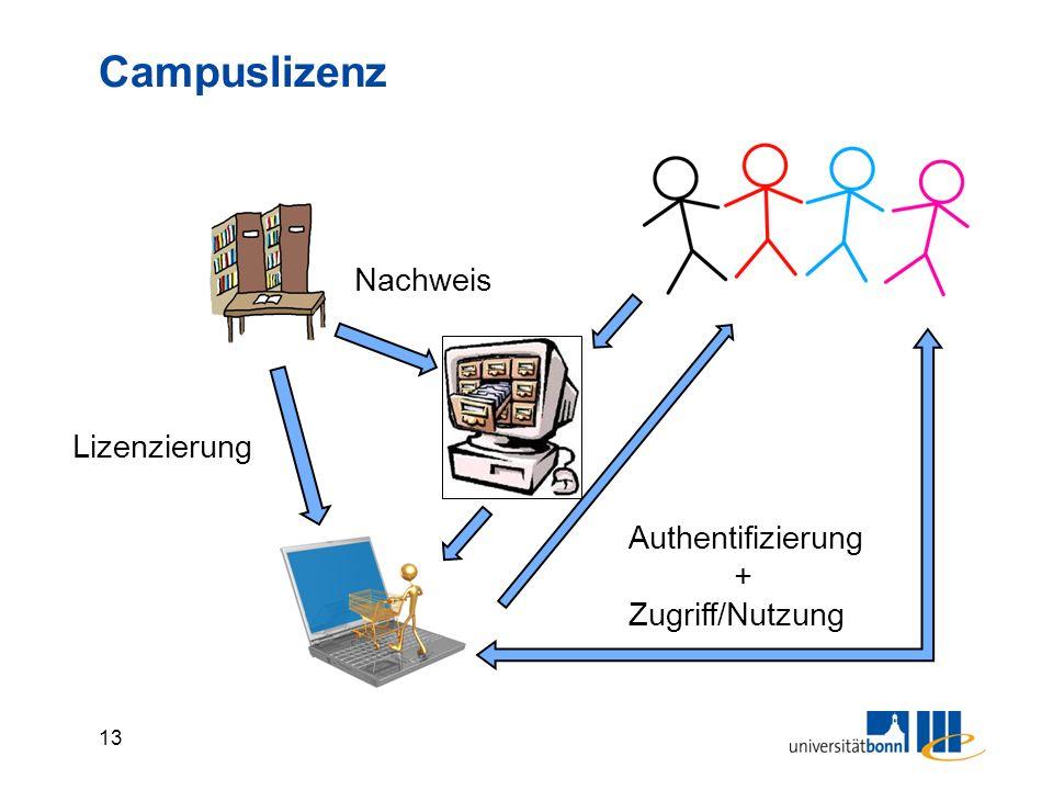13 Campuslizenz Lizenzierung Authentifizierung + Zugriff/Nutzung Nachweis