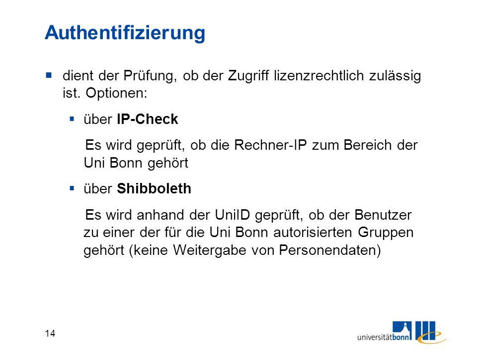14 Authentifizierung  dient der Prüfung, ob der Zugriff lizenzrechtlich zulässig ist.