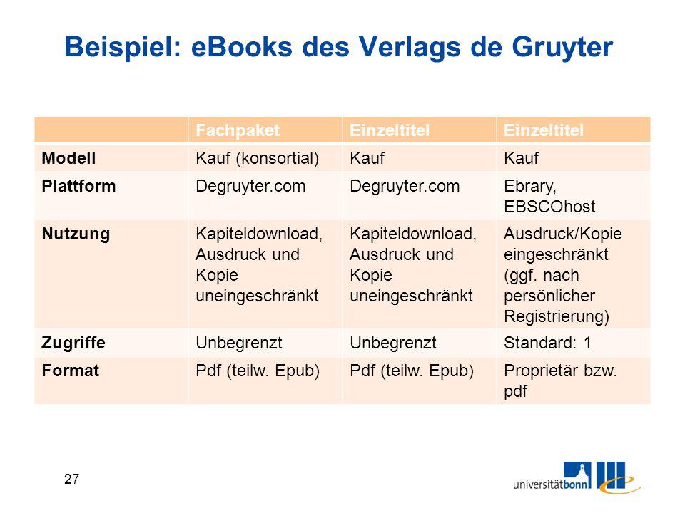 27 Beispiel: eBooks des Verlags de Gruyter FachpaketEinzeltitel ModellKauf (konsortial)Kauf PlattformDegruyter.com Ebrary, EBSCOhost NutzungKapiteldownload, Ausdruck und Kopie uneingeschränkt Ausdruck/Kopie eingeschränkt (ggf.