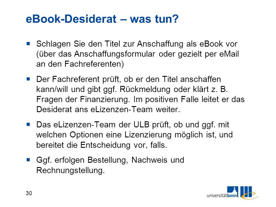 30 eBook-Desiderat – was tun.