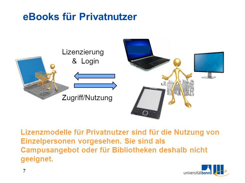 7 Lizenzierung & Login Zugriff/Nutzung eBooks für Privatnutzer Lizenzmodelle für Privatnutzer sind für die Nutzung von Einzelpersonen vorgesehen.