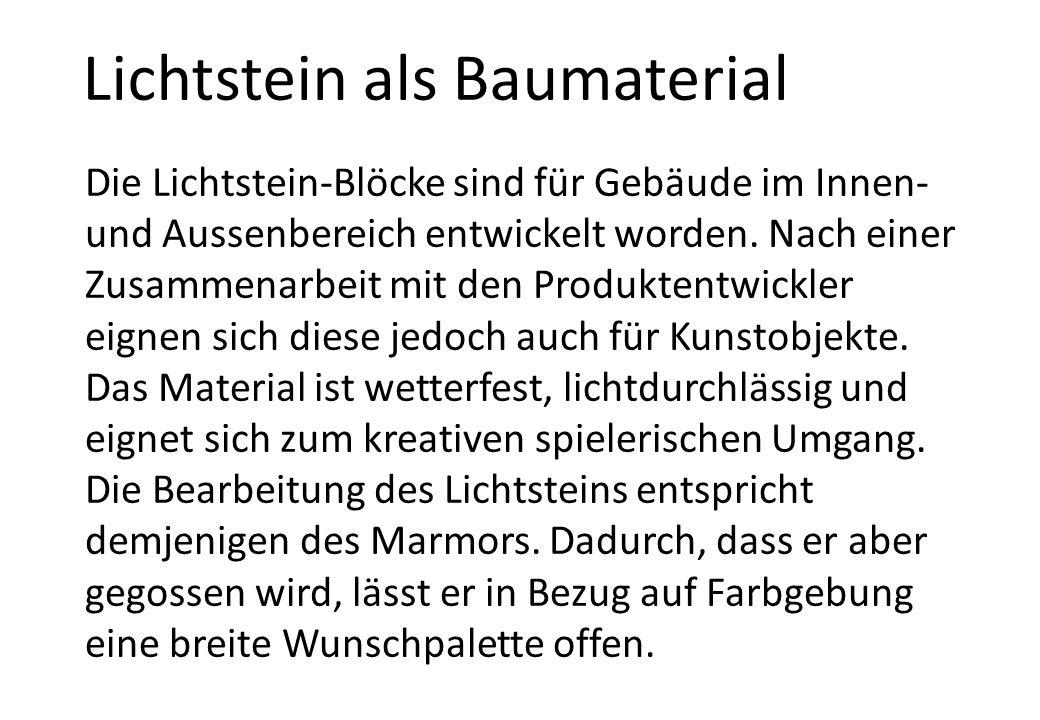 Lichtstein als Baumaterial Die Lichtstein-Blöcke sind für Gebäude im Innen- und Aussenbereich entwickelt worden.