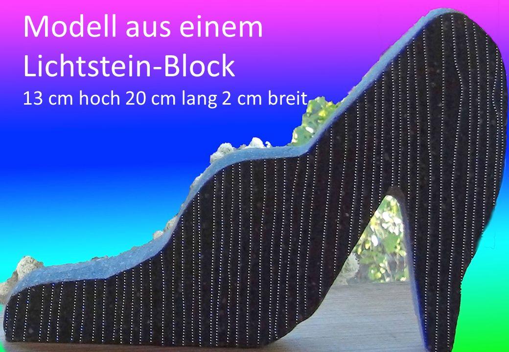 Modell aus einem Lichtstein-Block 13 cm hoch 20 cm lang 2 cm breit