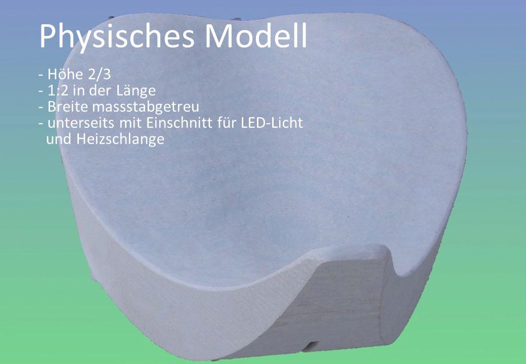 - Höhe 2/3 - 1:2 in der Länge - Breite massstabgetreu - unterseits mit Einschnitt für LED-Licht und Heizschlange Physisches Modell