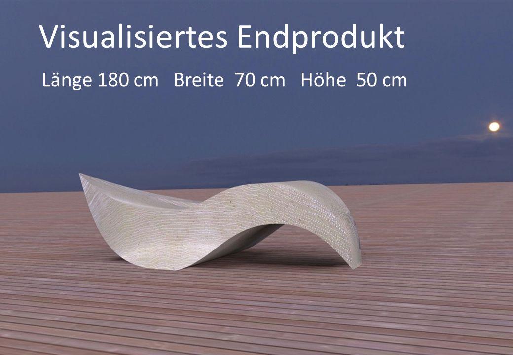 Visualisiertes Endprodukt Länge 180 cm Breite 70 cm Höhe 50 cm