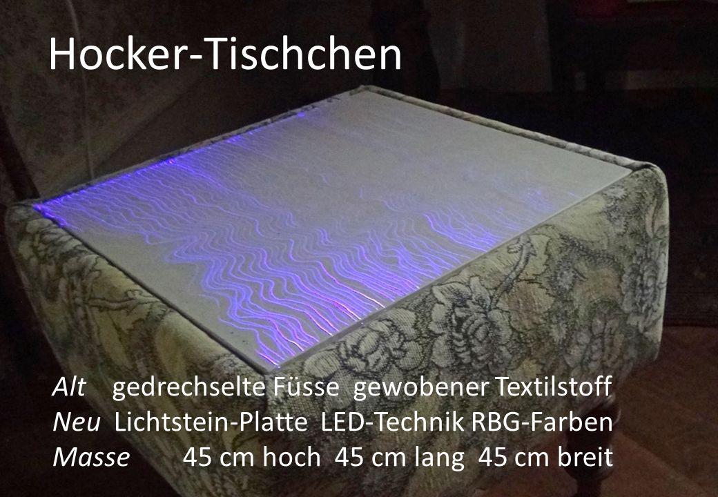 Alt gedrechselte Füsse gewobener Textilstoff Neu Lichtstein-Platte LED-Technik RBG-Farben Masse 45 cm hoch 45 cm lang 45 cm breit Hocker-Tischchen
