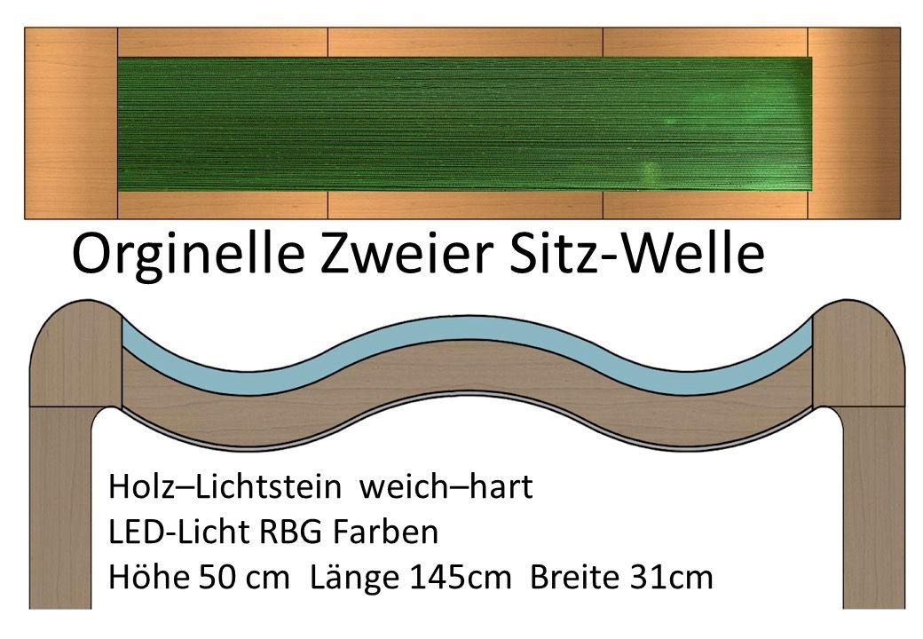 Holz–Lichtstein weich–hart LED-Licht RBG Farben Höhe 50 cm Länge 145cm Breite 31cm Orginelle Zweier Sitz-Welle