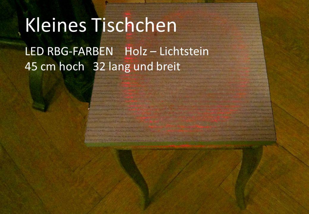 Kleines Tischchen LED RBG-FARBEN Holz – Lichtstein 45 cm hoch 32 lang und breit