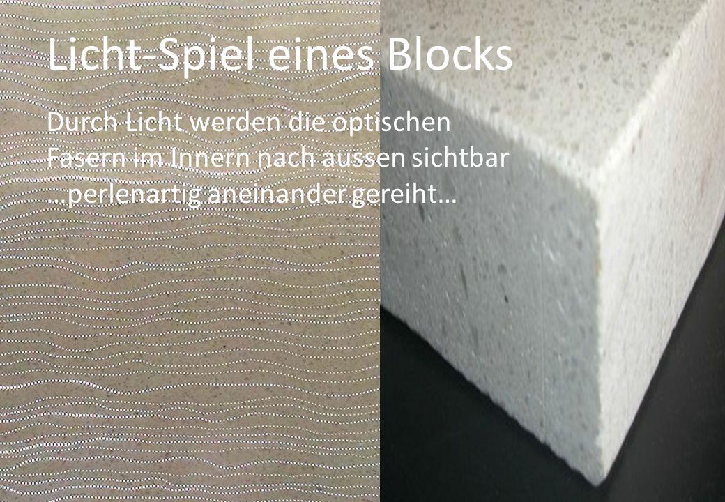 Licht-Spiel eines Blocks Durch Licht werden die optischen Fasern im Innern nach aussen sichtbar …perlenartig aneinander gereiht…