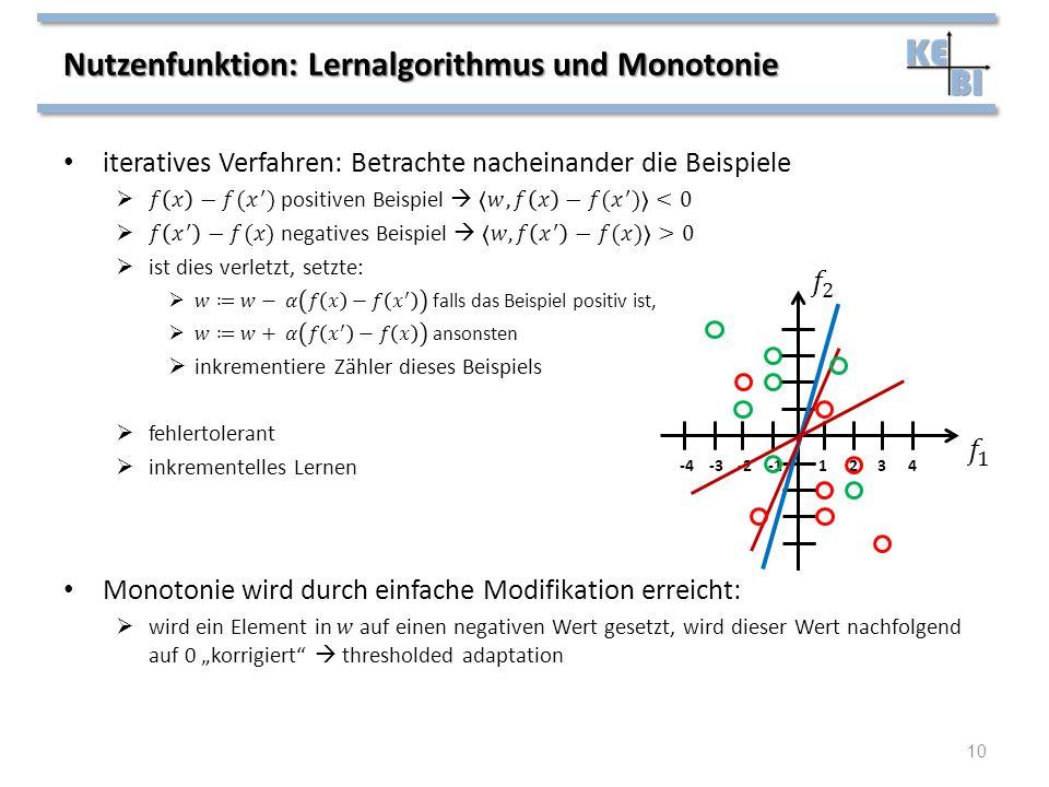 Nutzenfunktion: Lernalgorithmus und Monotonie 10 1234-4-3-2