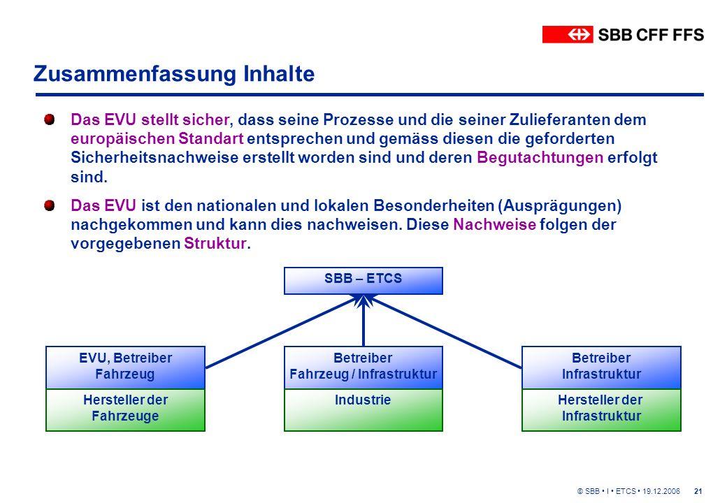 © SBB I ETCS 19.12.200621 Zusammenfassung Inhalte Das EVU ist den nationalen und lokalen Besonderheiten (Ausprägungen) nachgekommen und kann dies nachweisen.