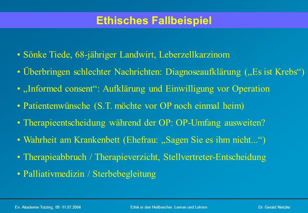 Ethisches Fallbeispiel Ev.Akademie Tutzing, 09.-11.07.2004Ethik in den Heilberufen.