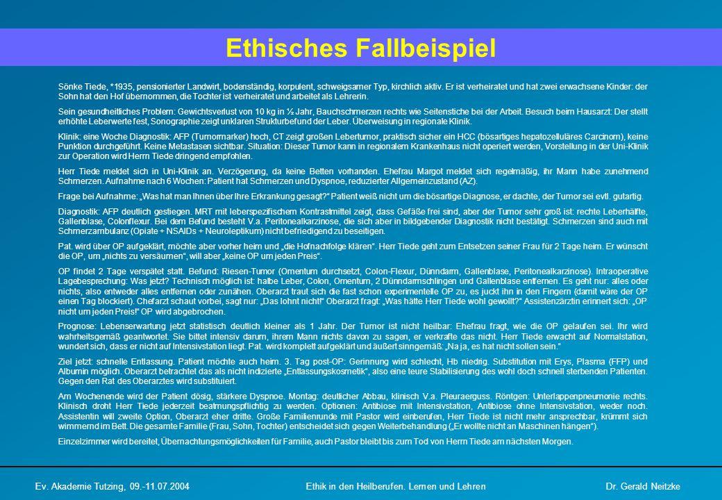 Ethisches Fallbeispiel Ev. Akademie Tutzing, 09.-11.07.2004Ethik in den Heilberufen.