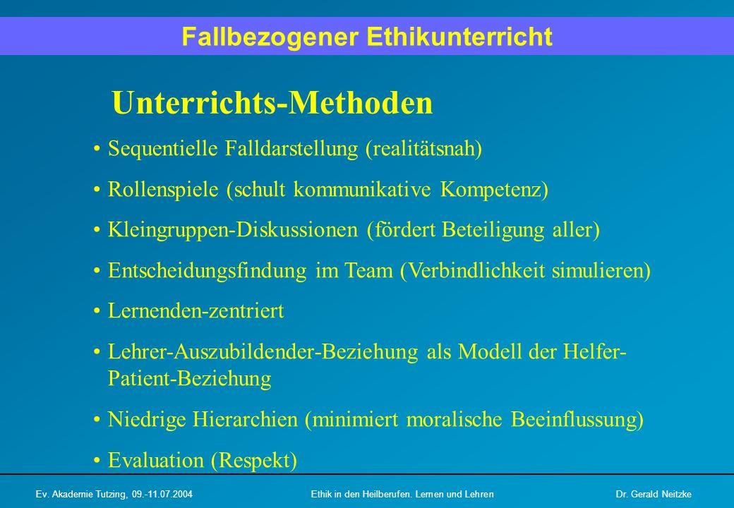 Haltung der Lehrenden / Vorbilder Das Verhältnis Lehrender-Lernender ist ein Modell für die spätere Arzt/Helfer-Patient-Beziehung (zuhören, respektieren).