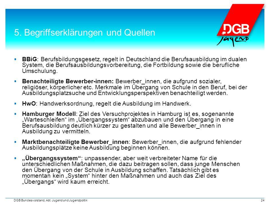 5. Begriffserklärungen und Quellen  BBiG: Berufsbildungsgesetz, regelt in Deutschland die Berufsausbildung im dualen System, die Berufsausbildungsvor