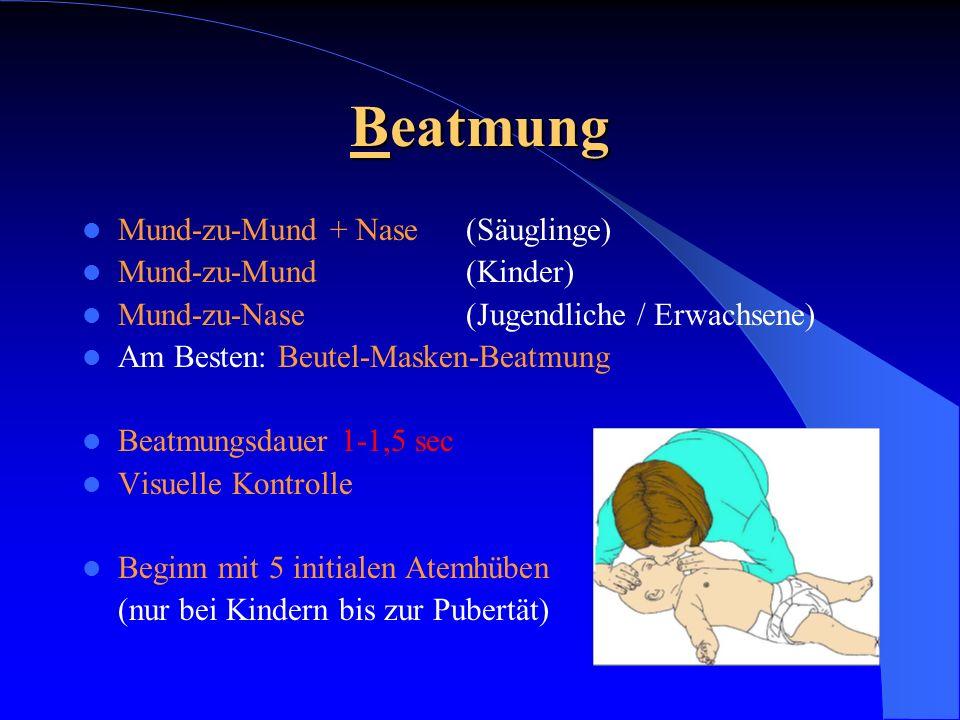 Beatmung Mund-zu-Mund + Nase (Säuglinge) Mund-zu-Mund (Kinder) Mund-zu-Nase (Jugendliche / Erwachsene) Am Besten: Beutel-Masken-Beatmung Beatmungsdaue
