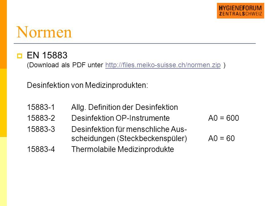 Normen  EN 15883 (Download als PDF unter http://files.meiko-suisse.ch/normen.zip )http://files.meiko-suisse.ch/normen.zip Desinfektion von Medizinprodukten: 15883-1Allg.