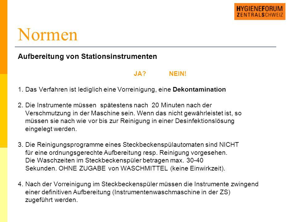 Normen Aufbereitung von Stationsinstrumenten JA NEIN.