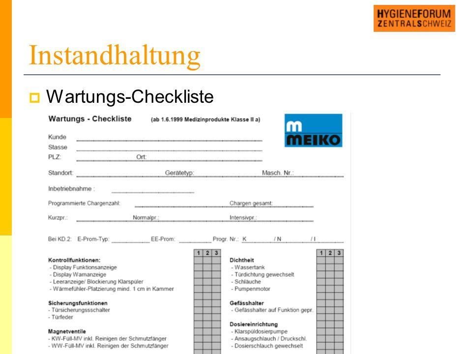 Instandhaltung  Wartungs-Checkliste