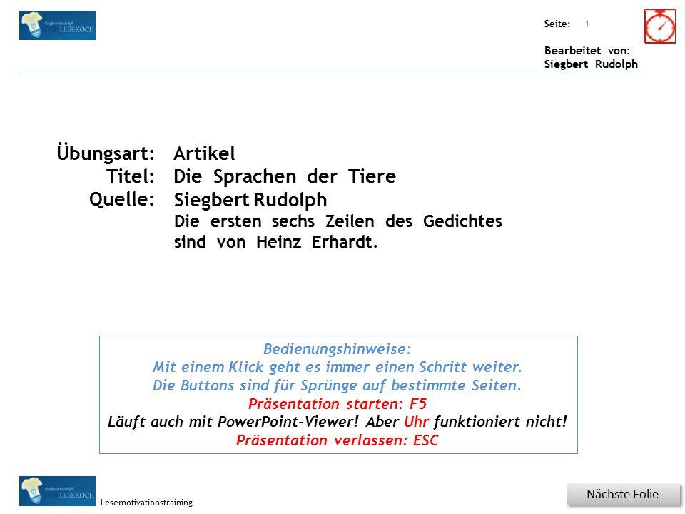 Übungsart: Seite: Bearbeitet von: Siegbert Rudolph Lesemotivationstraining Spezielle Übungen Wörterschlange.