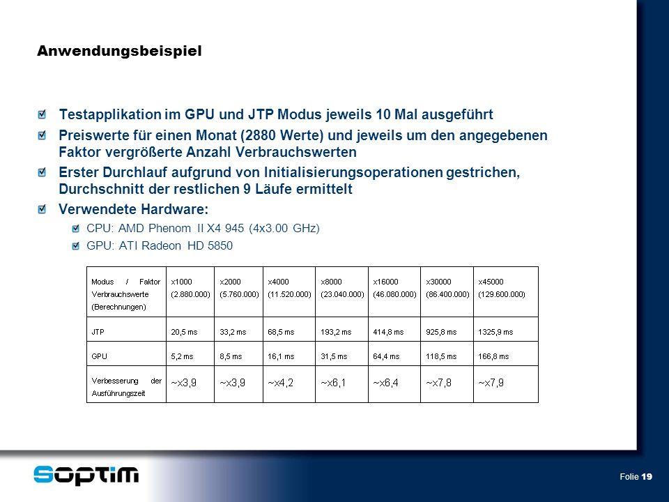 Folie 19 Anwendungsbeispiel Testapplikation im GPU und JTP Modus jeweils 10 Mal ausgeführt Preiswerte für einen Monat (2880 Werte) und jeweils um den angegebenen Faktor vergrößerte Anzahl Verbrauchswerten Erster Durchlauf aufgrund von Initialisierungsoperationen gestrichen, Durchschnitt der restlichen 9 Läufe ermittelt Verwendete Hardware: CPU: AMD Phenom II X4 945 (4x3.00 GHz) GPU: ATI Radeon HD 5850