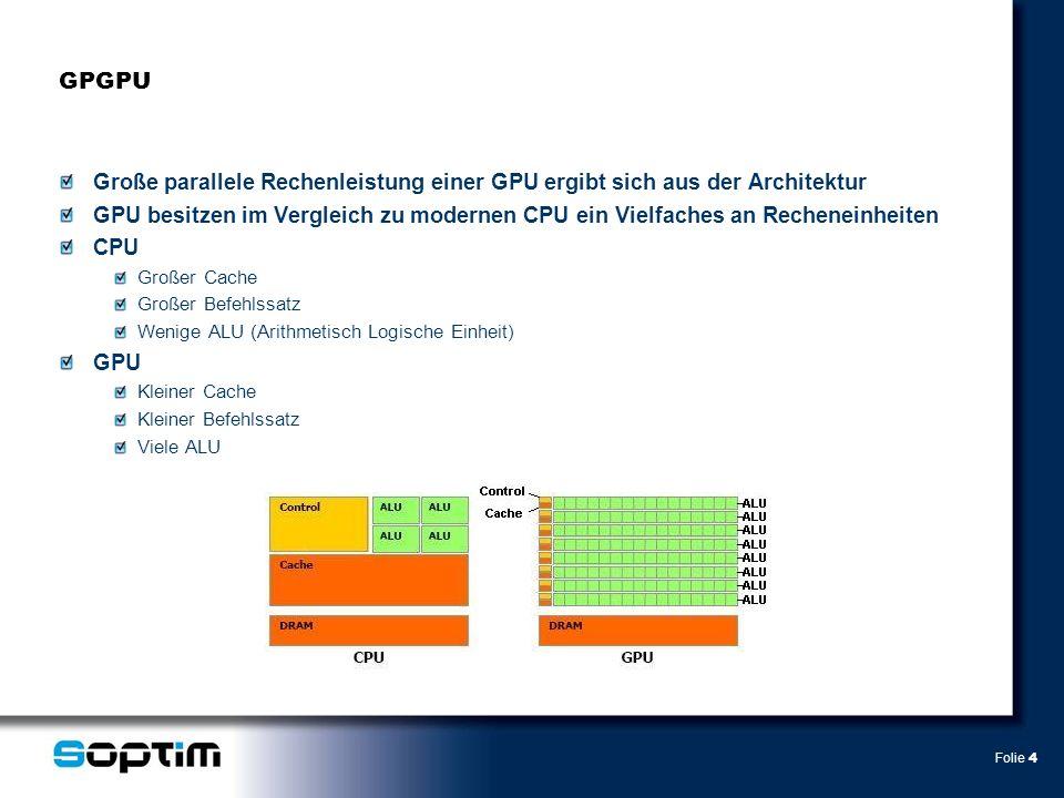 Folie 4 GPGPU Große parallele Rechenleistung einer GPU ergibt sich aus der Architektur GPU besitzen im Vergleich zu modernen CPU ein Vielfaches an Recheneinheiten CPU Großer Cache Großer Befehlssatz Wenige ALU (Arithmetisch Logische Einheit) GPU Kleiner Cache Kleiner Befehlssatz Viele ALU