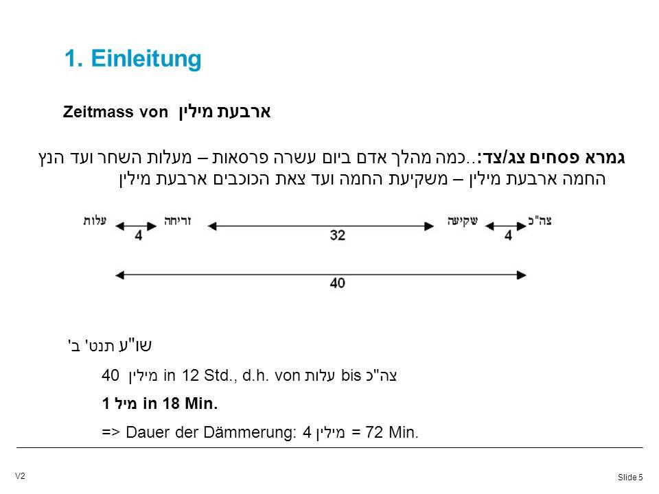 Slide 6 V2 1.Einleitung Zeitmass von ארבעת מילין גר א תנט ב 32 מיליןin 12 Std., d.h.