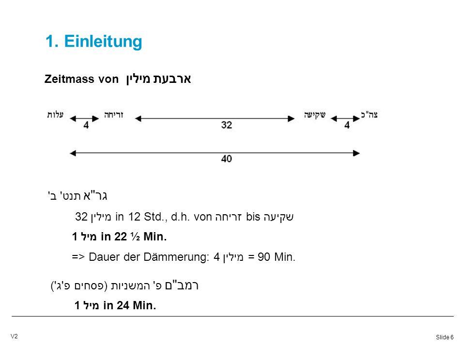 Slide 6 V2 1. Einleitung Zeitmass von ארבעת מילין גר א תנט ב 32 מיליןin 12 Std., d.h.