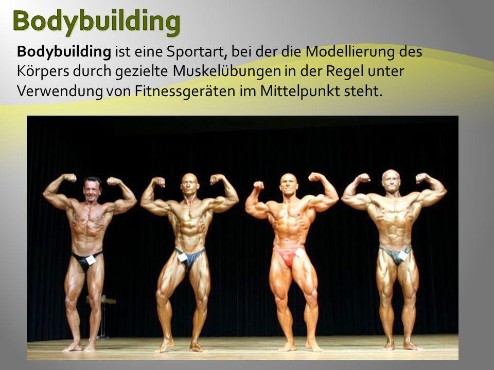Bodybuilding ist eine Sportart, bei der die Modellierung des Körpers durch gezielte Muskelübungen in der Regel unter Verwendung von Fitnessgeräten im Mittelpunkt steht.