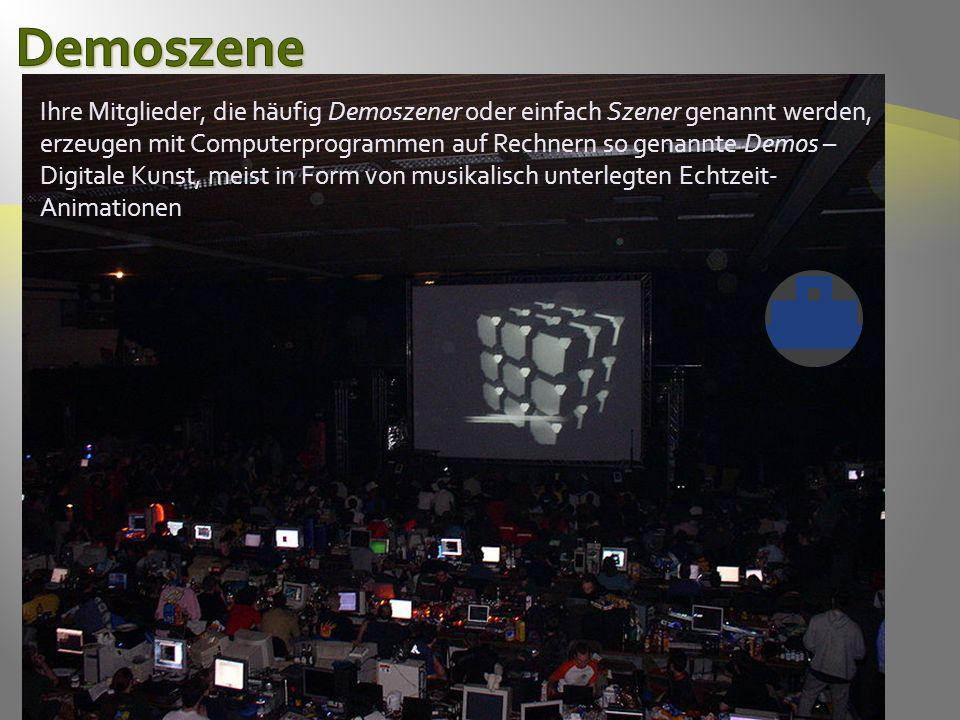 Ihre Mitglieder, die häufig Demoszener oder einfach Szener genannt werden, erzeugen mit Computerprogrammen auf Rechnern so genannte Demos – Digitale Kunst, meist in Form von musikalisch unterlegten Echtzeit- Animationen.