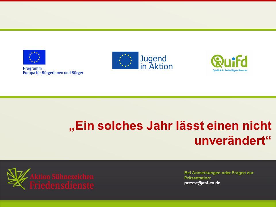 """Bei Anmerkungen oder Fragen zur Präsentation: presse@asf-ev.de """"Ein solches Jahr lässt einen nicht unverändert 0"""
